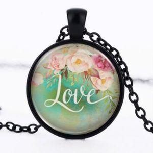 Jewelry - Love Flower Black Glass Necklace